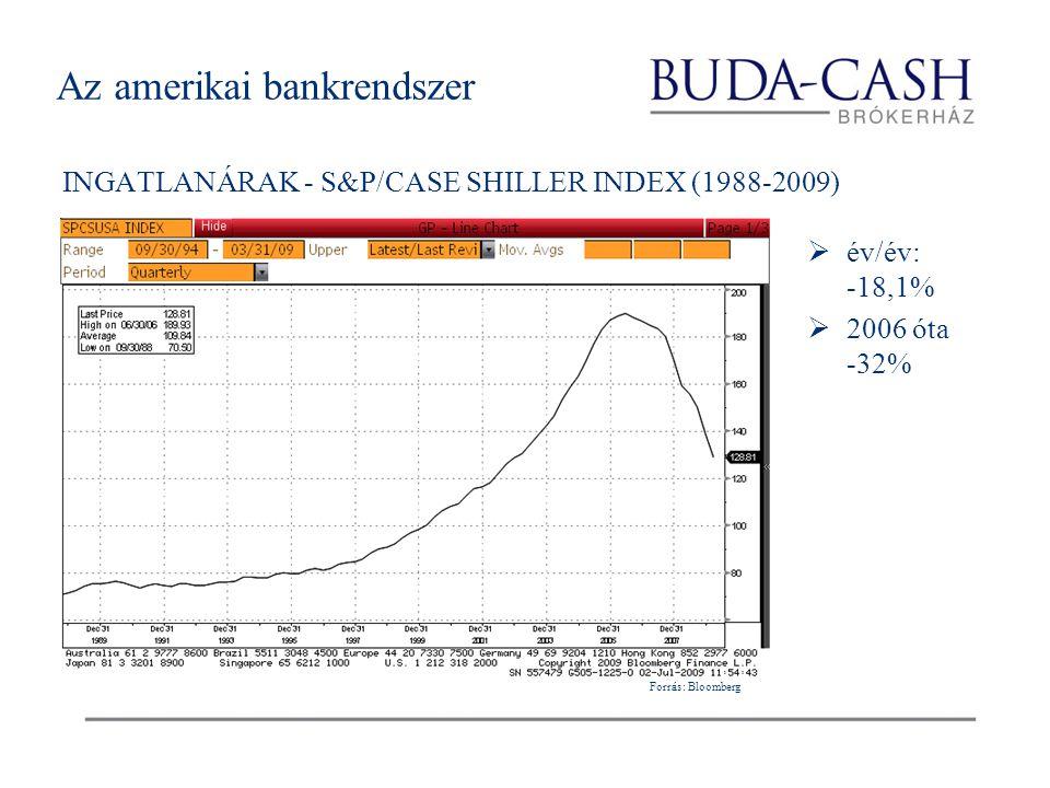 Az amerikai bankrendszer INGATLANÁRAK - S&P/CASE SHILLER INDEX (1988-2009)  év/év: -18,1%  2006 óta -32% Forrás: Bloomberg