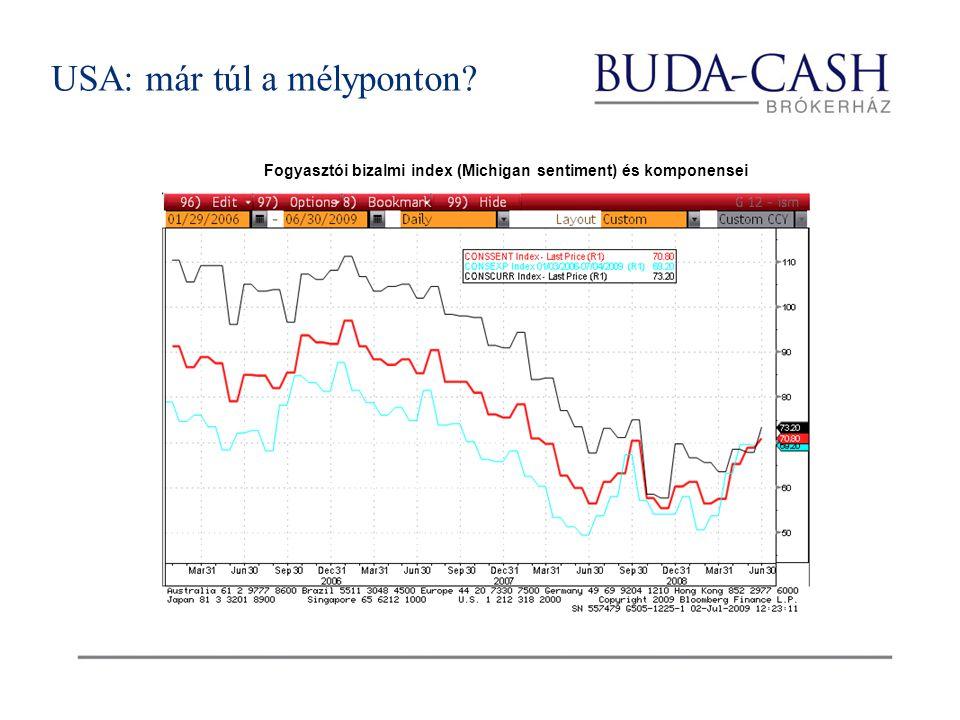 USA: már túl a mélyponton Fogyasztói bizalmi index (Michigan sentiment) és komponensei
