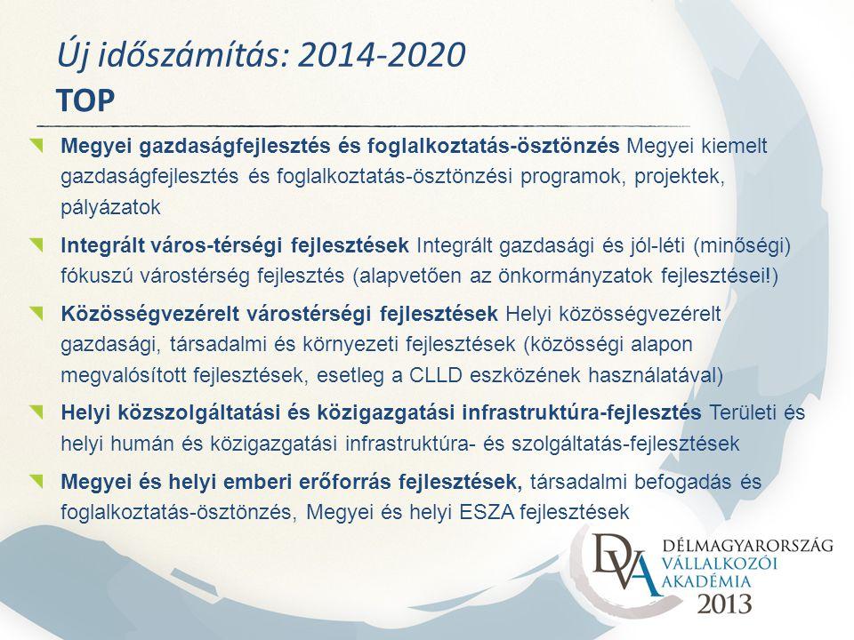 Új időszámítás: 2014-2020 TOP Megyei gazdaságfejlesztés és foglalkoztatás-ösztönzés Megyei kiemelt gazdaságfejlesztés és foglalkoztatás-ösztönzési programok, projektek, pályázatok Integrált város-térségi fejlesztések Integrált gazdasági és jól-léti (minőségi) fókuszú várostérség fejlesztés (alapvetően az önkormányzatok fejlesztései!) Közösségvezérelt várostérségi fejlesztések Helyi közösségvezérelt gazdasági, társadalmi és környezeti fejlesztések (közösségi alapon megvalósított fejlesztések, esetleg a CLLD eszközének használatával) Helyi közszolgáltatási és közigazgatási infrastruktúra-fejlesztés Területi és helyi humán és közigazgatási infrastruktúra- és szolgáltatás-fejlesztések Megyei és helyi emberi erőforrás fejlesztések, társadalmi befogadás és foglalkoztatás-ösztönzés, Megyei és helyi ESZA fejlesztések