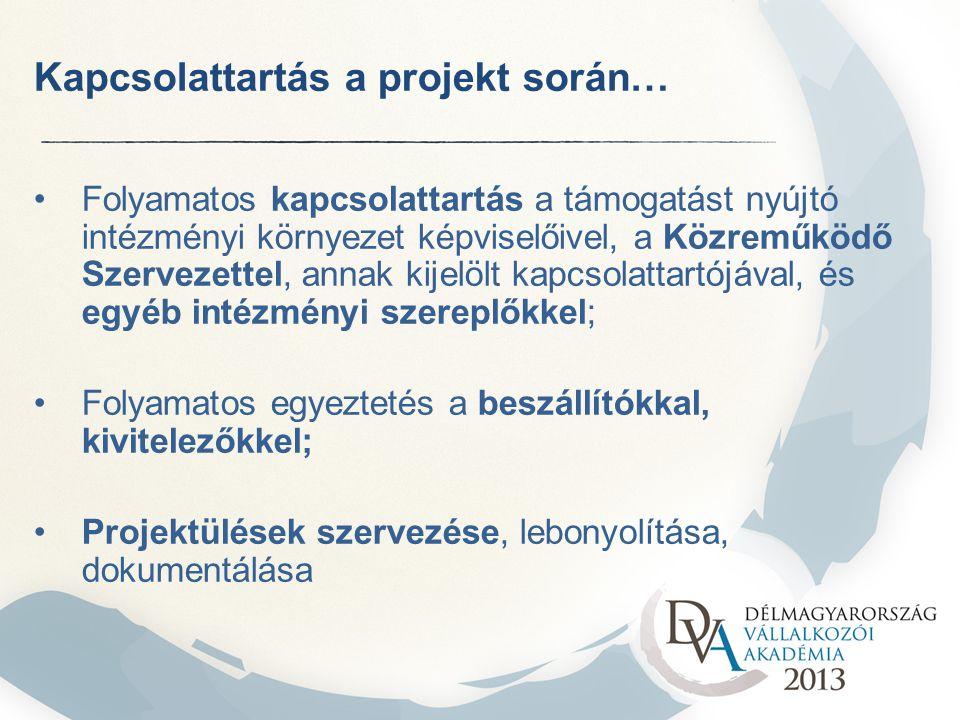 Kapcsolattartás a projekt során… Folyamatos kapcsolattartás a támogatást nyújtó intézményi környezet képviselőivel, a Közreműködő Szervezettel, annak