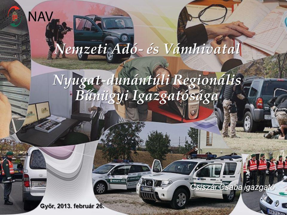 Nemzeti Adó- és Vámhivatal Nyugat-dunántúli Regionális Bűnügyi Igazgatósága Győr, 2013. február 26. Csiszár Csaba igazgató