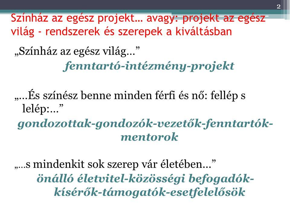 """Színház az egész projekt… avagy: projekt az egész világ - rendszerek és szerepek a kiváltásban """"Színház az egész világ…"""" fenntartó-intézmény-projekt """""""