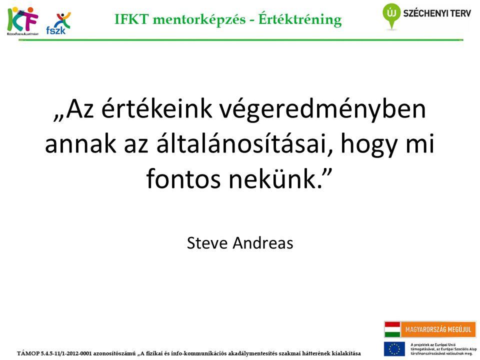 """""""Az értékeink végeredményben annak az általánosításai, hogy mi fontos nekünk. Steve Andreas"""