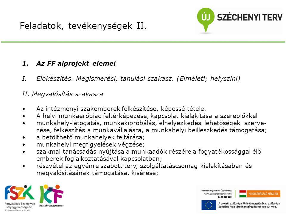 Feladatok, tevékenységek II. 1.Az FF alprojekt elemei I.Előkészítés.