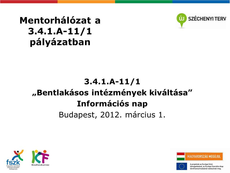"""Mentorhálózat a 3.4.1.A-11/1 pályázatban 3.4.1.A-11/1 """"Bentlakásos intézmények kiváltása Információs nap Budapest, 2012."""
