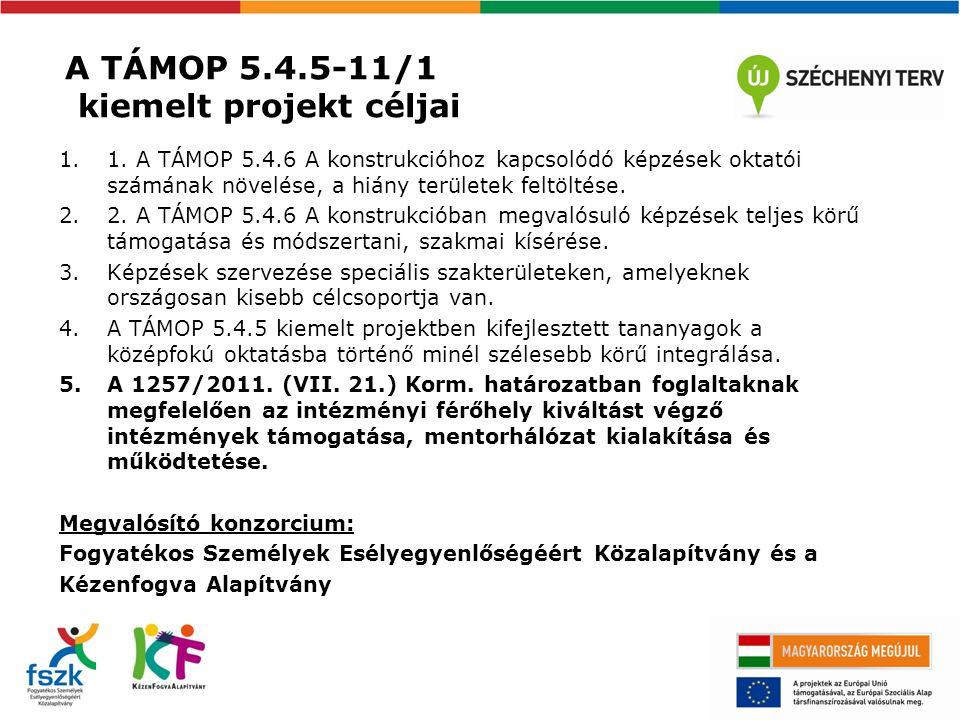 A TÁMOP 5.4.5-11/1 kiemelt projekt céljai 1.1.
