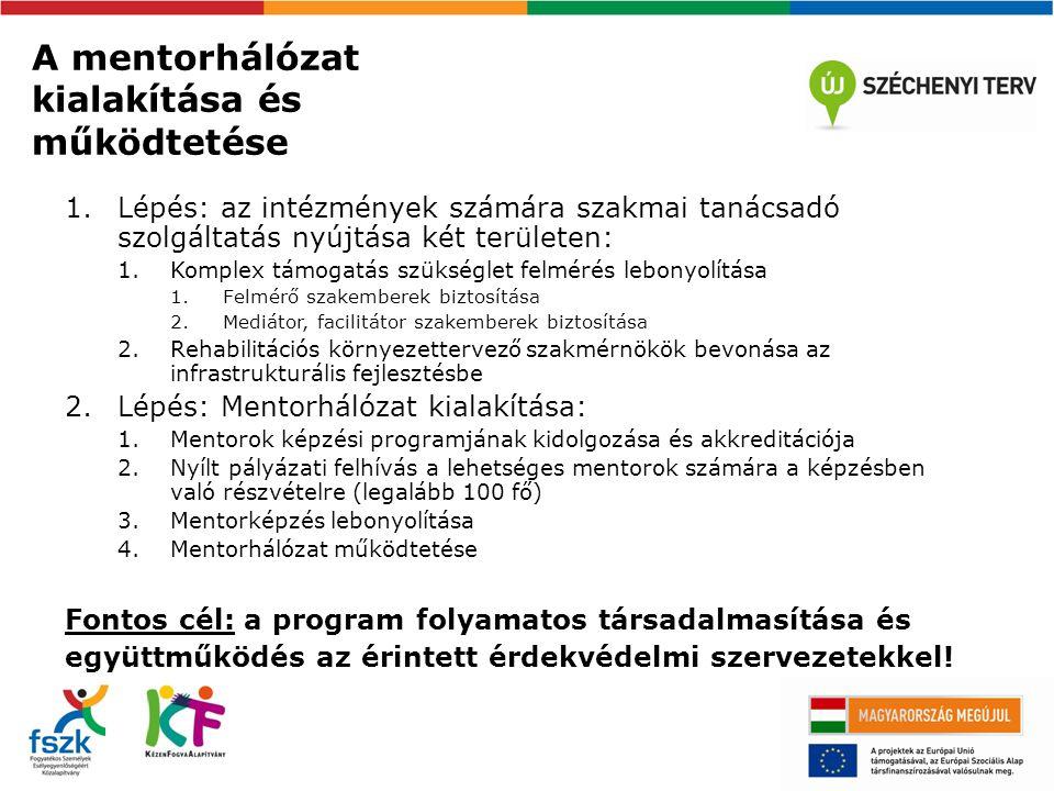A mentorhálózat kialakítása és működtetése 1.Lépés: az intézmények számára szakmai tanácsadó szolgáltatás nyújtása két területen: 1.Komplex támogatás szükséglet felmérés lebonyolítása 1.Felmérő szakemberek biztosítása 2.Mediátor, facilitátor szakemberek biztosítása 2.Rehabilitációs környezettervező szakmérnökök bevonása az infrastrukturális fejlesztésbe 2.Lépés: Mentorhálózat kialakítása: 1.Mentorok képzési programjának kidolgozása és akkreditációja 2.Nyílt pályázati felhívás a lehetséges mentorok számára a képzésben való részvételre (legalább 100 fő) 3.Mentorképzés lebonyolítása 4.Mentorhálózat működtetése Fontos cél: a program folyamatos társadalmasítása és együttműködés az érintett érdekvédelmi szervezetekkel!