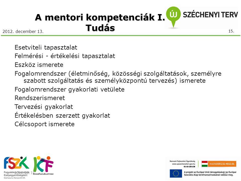 2012. december 13. A mentori kompetenciák I. Tudás Esetviteli tapasztalat Felmérési - értékelési tapasztalat Eszköz ismerete Fogalomrendszer (életminő