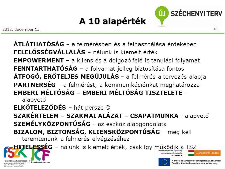 2012. december 13. A 10 alapérték ÁTLÁTHATÓSÁG – a felmérésben és a felhasználása érdekében FELELŐSSÉGVÁLLALÁS – nálunk is kiemelt érték EMPOWERMENT –