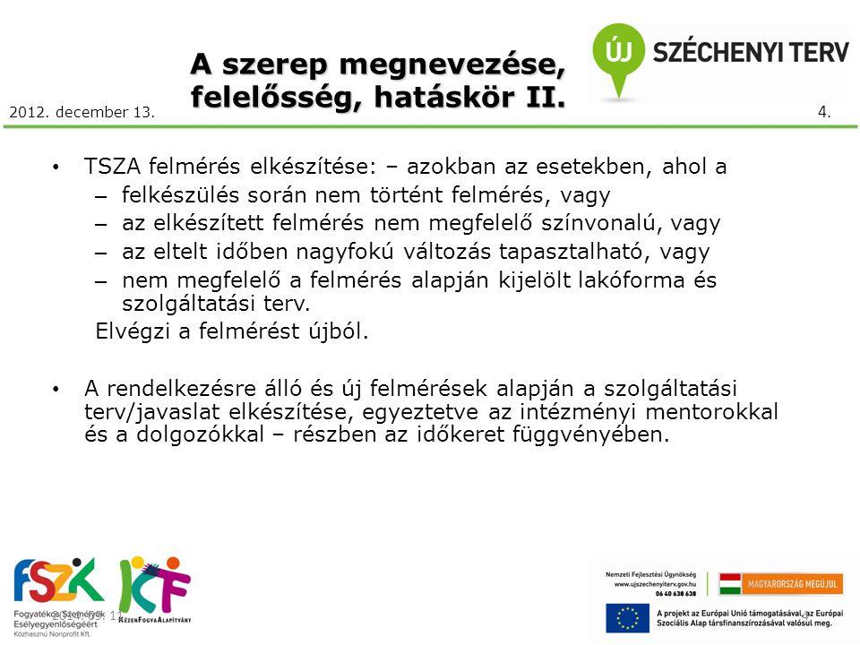 2012. december 13. A szerep megnevezése, felelősség, hatáskör II. TSZA felmérés elkészítése: – azokban az esetekben, ahol a – felkészülés során nem tö