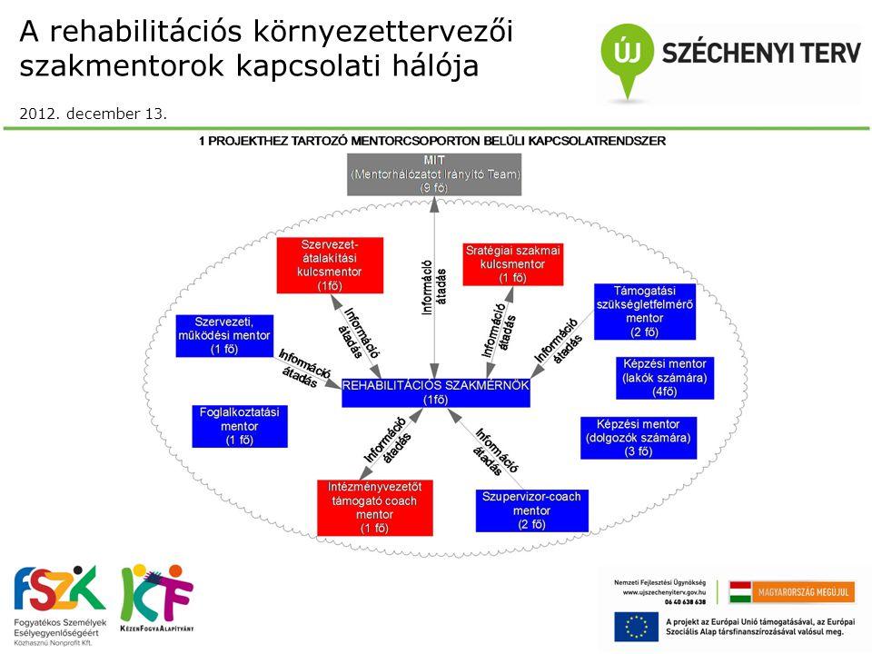 A rehabilitációs környezettervezői szakmentorok kapcsolati hálója 2012. december 13.