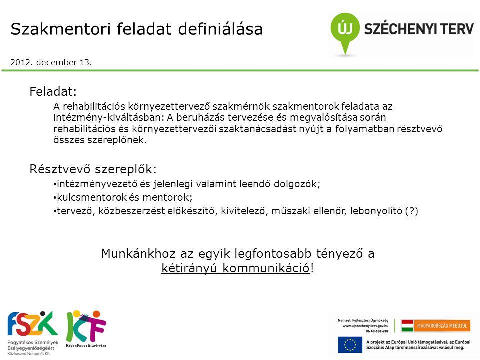 Szakmentori feladat definiálása 2012. december 13. Feladat: A rehabilitációs környezettervező szakmérnök szakmentorok feladata az intézmény-kiváltásba