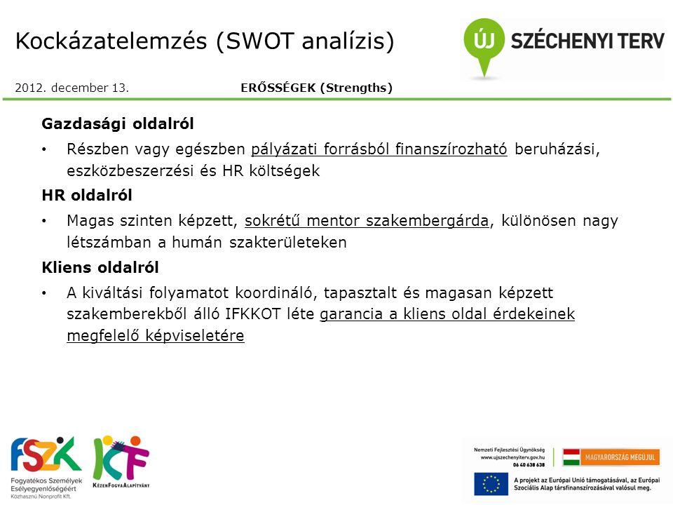 Kockázatelemzés (SWOT analízis) 2012. december 13. ERŐSSÉGEK (Strengths) Gazdasági oldalról Részben vagy egészben pályázati forrásból finanszírozható