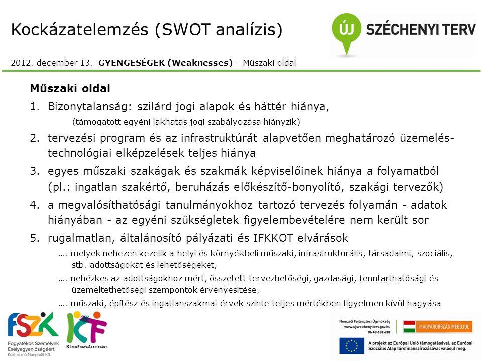 Kockázatelemzés (SWOT analízis) 2012. december 13. GYENGESÉGEK (Weaknesses) – Műszaki oldal Műszaki oldal 1.Bizonytalanság: szilárd jogi alapok és hát