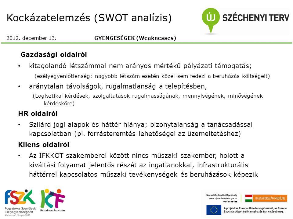Kockázatelemzés (SWOT analízis) 2012. december 13.GYENGESÉGEK (Weaknesses) Gazdasági oldalról kitagolandó létszámmal nem arányos mértékű pályázati tám