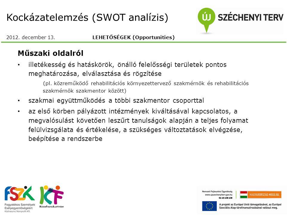 Kockázatelemzés (SWOT analízis) 2012. december 13. LEHETŐSÉGEK (Opportunities) Műszaki oldalról illetékesség és hatáskörök, önálló felelősségi terület