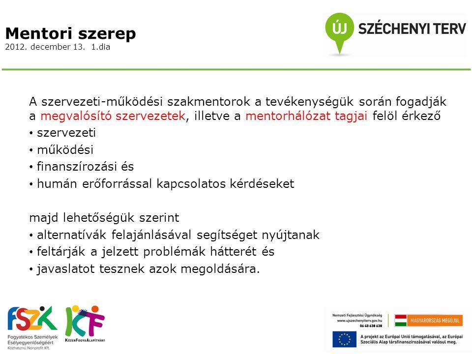 Mentori szerep 2012. december 13. 1.dia A szervezeti-működési szakmentorok a tevékenységük során fogadják a megvalósító szervezetek, illetve a mentorh