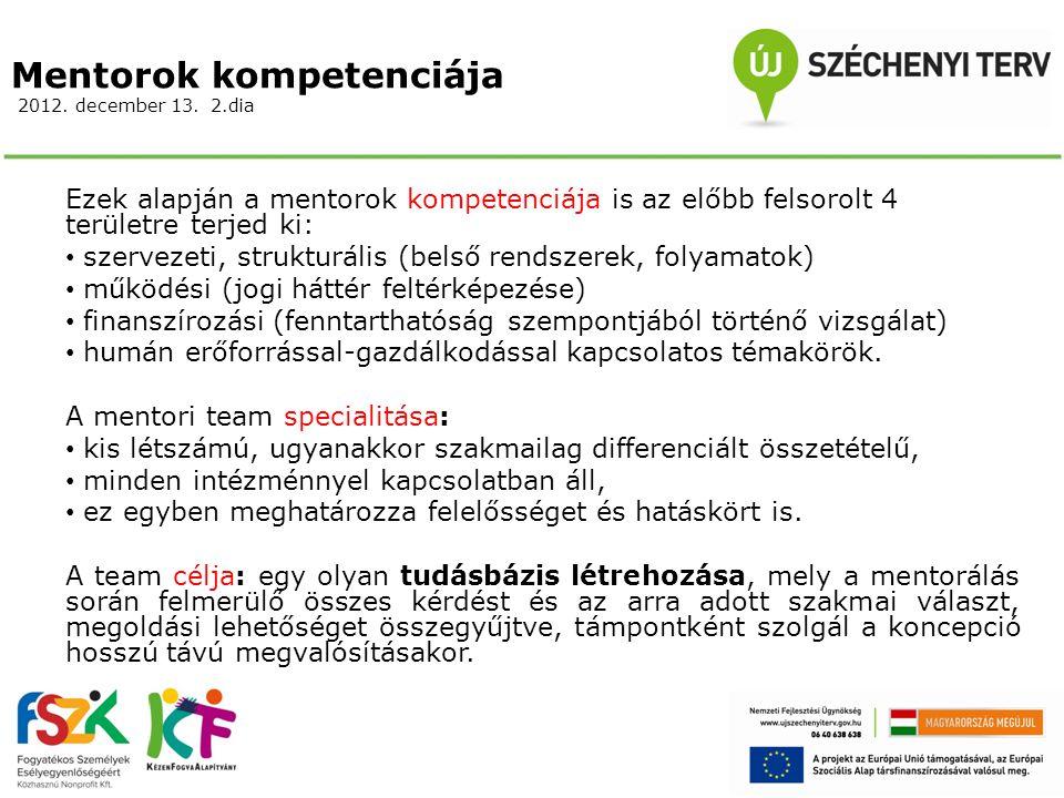 Mentorok kompetenciája 2012. december 13. 2.dia Ezek alapján a mentorok kompetenciája is az előbb felsorolt 4 területre terjed ki: szervezeti, struktu