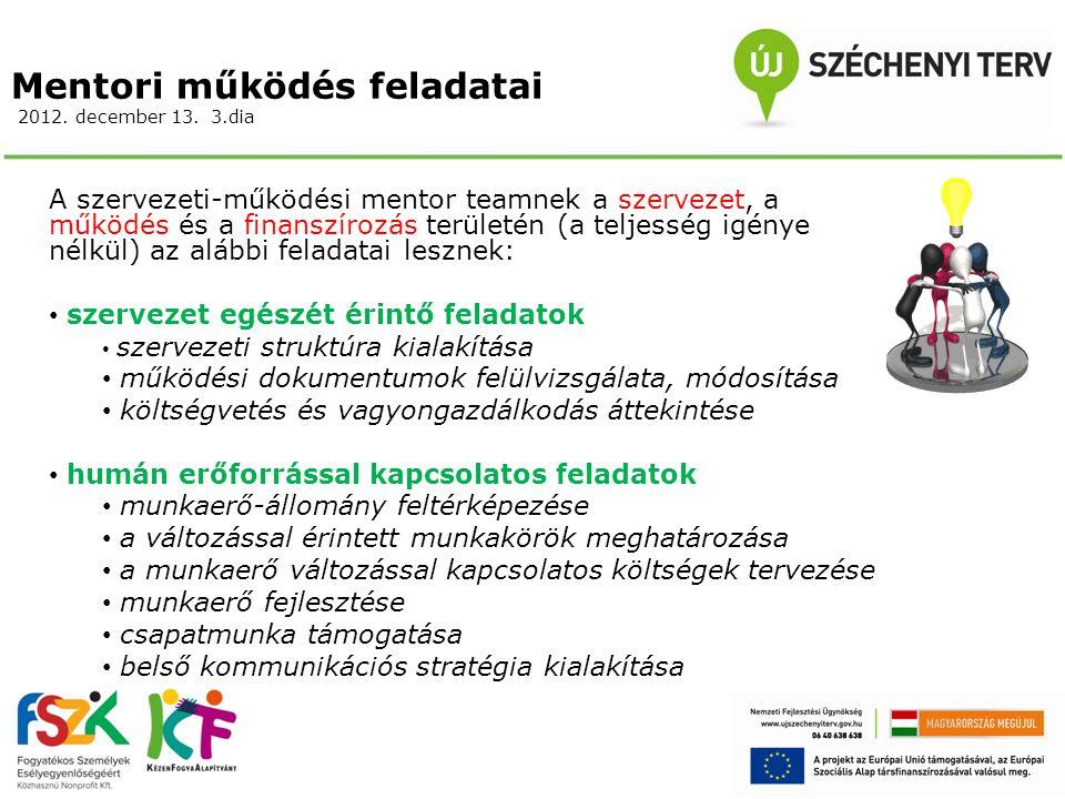 Mentori működés feladatai 2012. december 13. 3.dia A szervezeti-működési mentor teamnek a szervezet, a működés és a finanszírozás területén (a teljess
