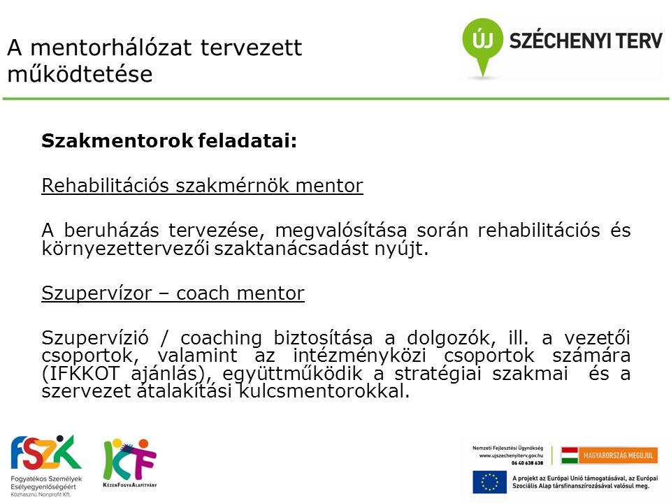 A mentorhálózat tervezett működtetése Szakmentorok feladatai: Rehabilitációs szakmérnök mentor A beruházás tervezése, megvalósítása során rehabilitáci