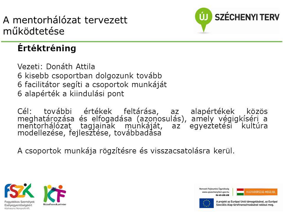 A mentorhálózat tervezett működtetése Értéktréning Vezeti: Donáth Attila 6 kisebb csoportban dolgozunk tovább 6 facilitátor segíti a csoportok munkájá