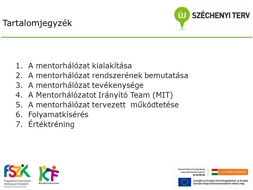 A mentorhálózat kialakítása  Nyílt képzési felhívás  110 fő beválogatása (benyújtott dokumentáció és személyes interjú alapján)  Mentorképzés lebonyolítása (szakmai tudás átadás, értéktréning, műhelymunka)  Mentorok bevonása: közbeszerzési eljárás
