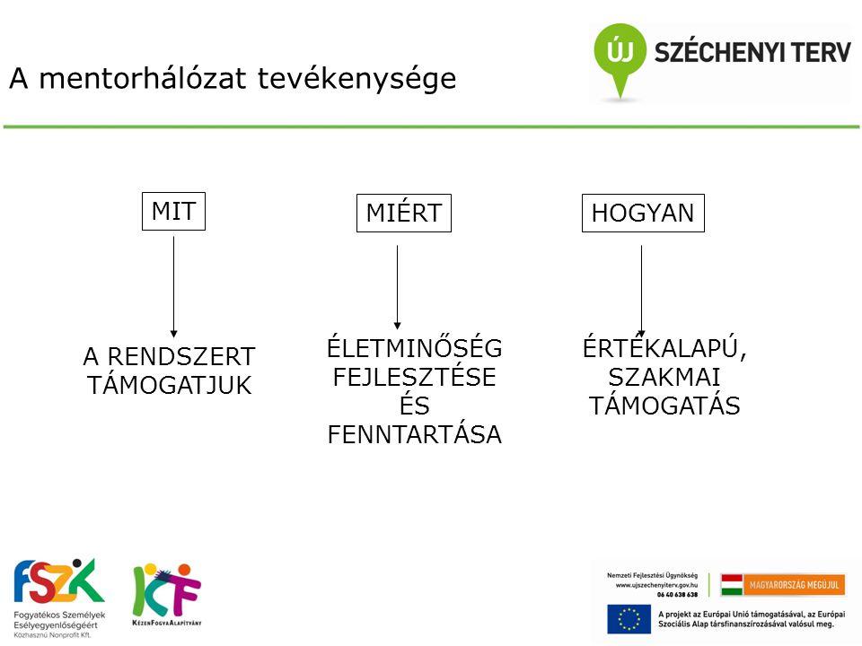 A mentorhálózat tervezett működtetése Folyamatkísérés Kulcsmentorok számára kötelező – 3 fős team-ek, rehabilitációs környezettervező szakmérnökök választhatják, bekapcsolódhatnak)  szupervízió / konzultáció – 12 alkalom, 4 óra egy alkalom (összesen maximum 7 csoport) Szakmentorok számára kötelező (dolgozók képzői, lakók képzői) illetve választható (szükségletfelmérők, foglalkoztatási, szervezeti-működési) – 5-7 fős csoportok (intézménytől független csoportok)  szupervízió / konzultáció – 11 alkalom, 4 óra egy alkalom (összesen maximum 10 csoport) Szupervízor-coach mentorok számára peer szupervízió szervezése a javasolt