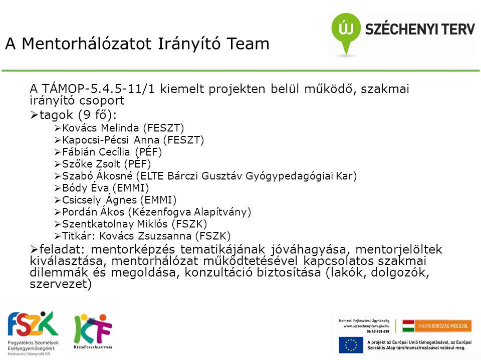 A Mentorhálózatot Irányító Team A TÁMOP-5.4.5-11/1 kiemelt projekten belül működő, szakmai irányító csoport  tagok (9 fő):  Kovács Melinda (FESZT) 