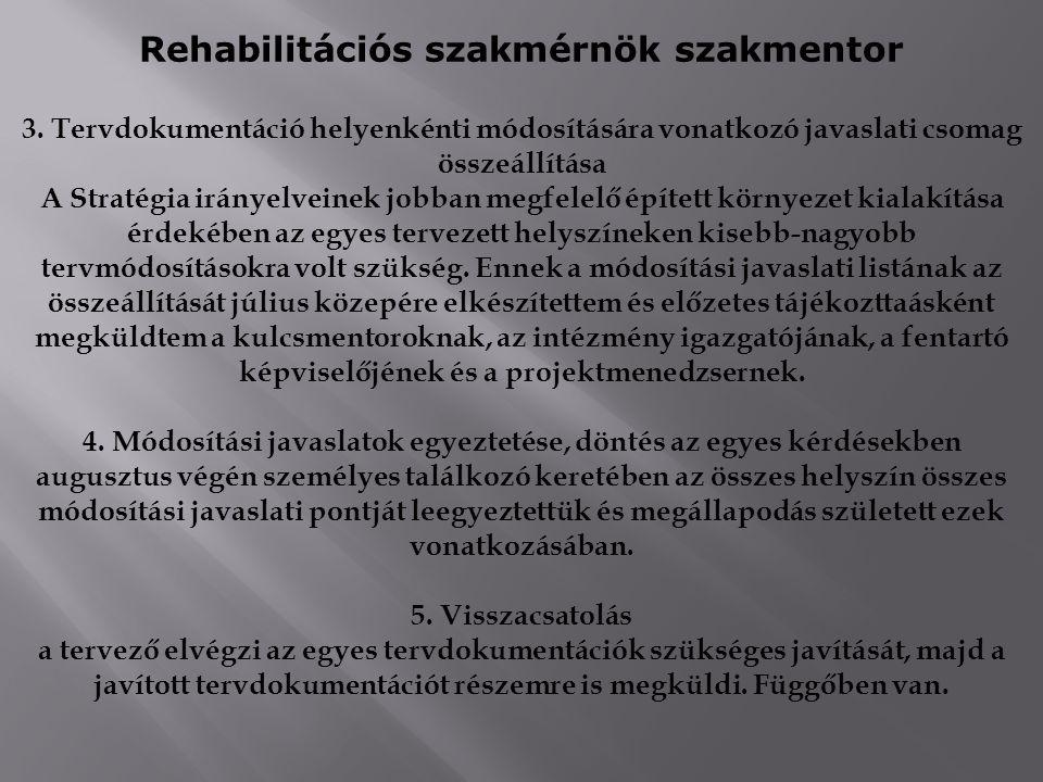 Rehabilitációs szakmérnök szakmentor 3. Tervdokumentáció helyenkénti módosítására vonatkozó javaslati csomag összeállítása A Stratégia irányelveinek j