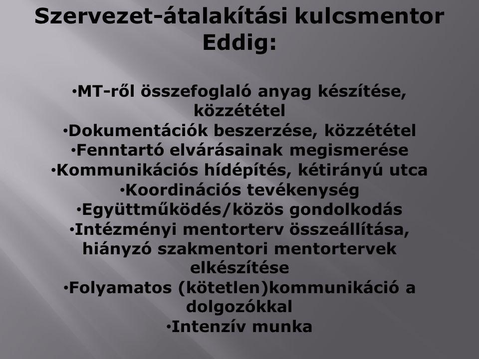 Szervezet-átalakítási kulcsmentor Eddig: MT-ről összefoglaló anyag készítése, közzététel Dokumentációk beszerzése, közzététel Fenntartó elvárásainak m