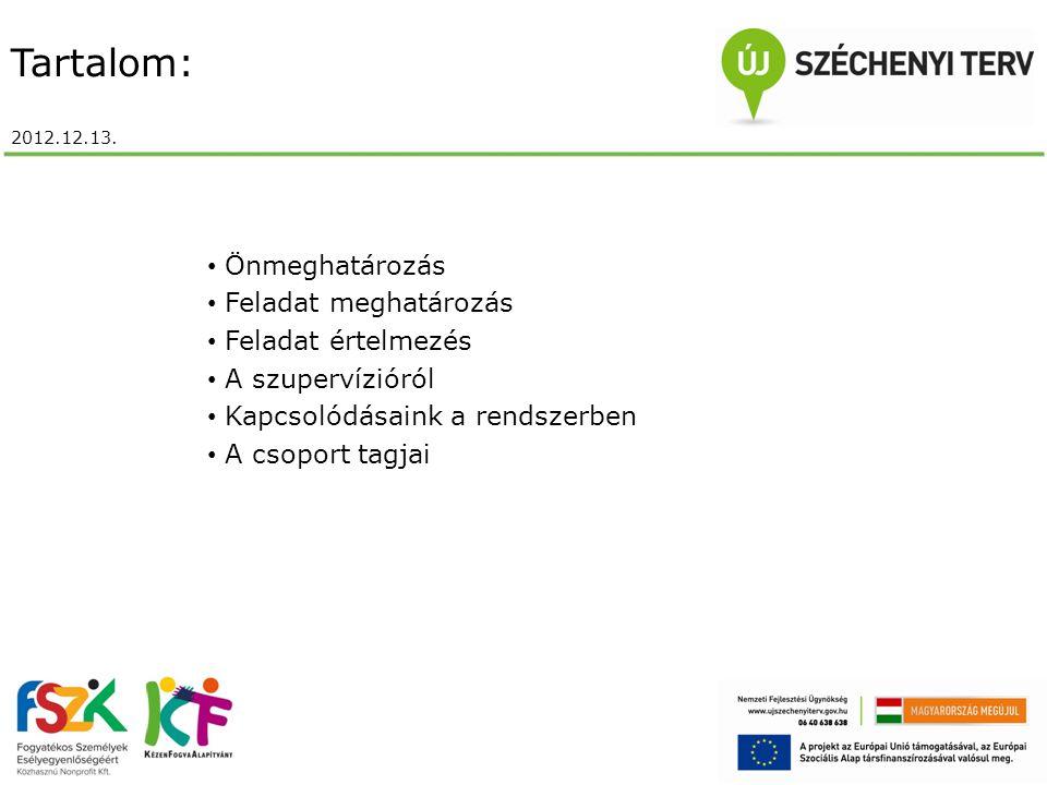 Tartalom: 2012.12.13. Önmeghatározás Feladat meghatározás Feladat értelmezés A szupervízióról Kapcsolódásaink a rendszerben A csoport tagjai