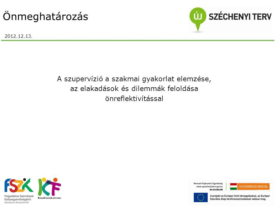 Önmeghatározás 2012.12.13. A szupervízió a szakmai gyakorlat elemzése, az elakadások és dilemmák feloldása önreflektivítással