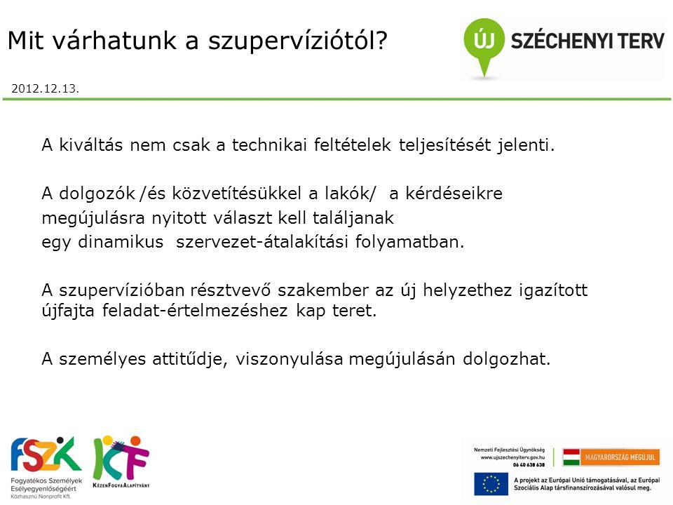 Mit várhatunk a szupervíziótól? 2012.12.13. A kiváltás nem csak a technikai feltételek teljesítését jelenti. A dolgozók /és közvetítésükkel a lakók/ a