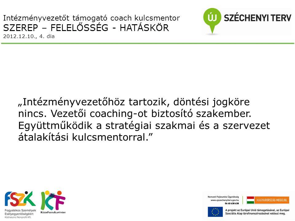 Intézményvezetőt támogató coach kulcsmentor SZEREP – FELELŐSSÉG - HATÁSKÖR 2012.12.10., 4.