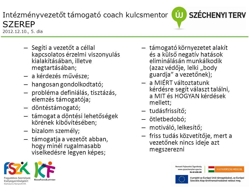 Intézményvezetőt támogató coach kulcsmentor SZEREP 2012.12.10., 5.