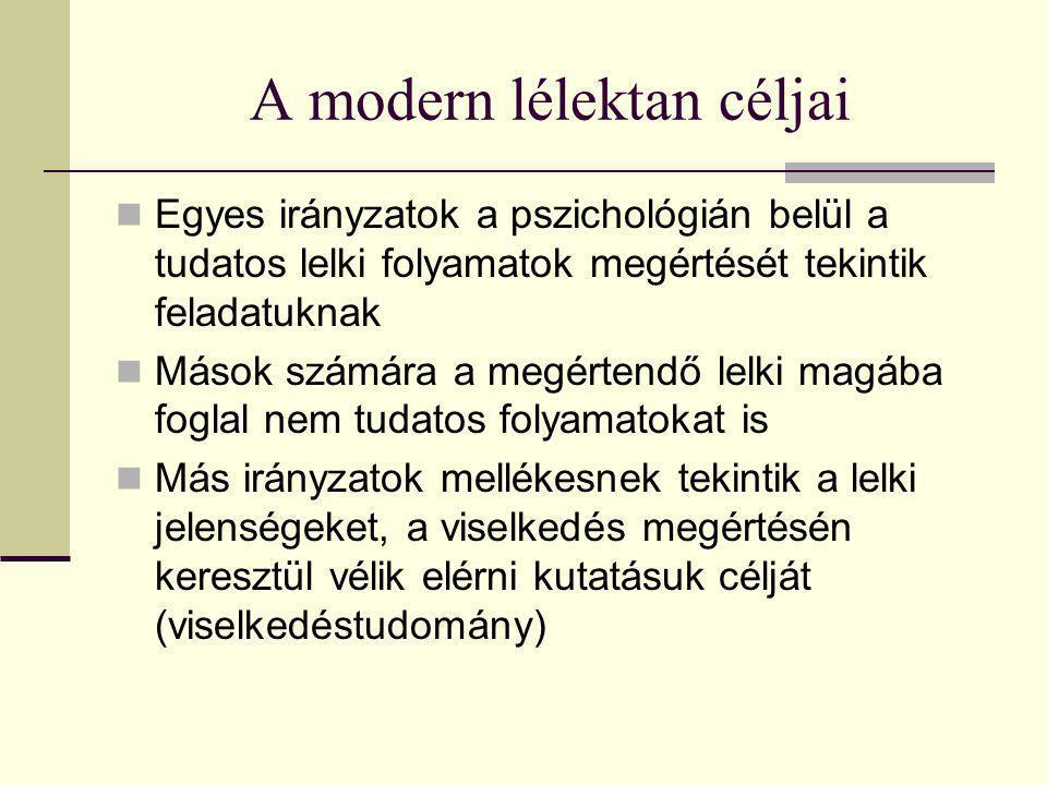 A modern lélektan céljai Egyes irányzatok a pszichológián belül a tudatos lelki folyamatok megértését tekintik feladatuknak Mások számára a megértendő