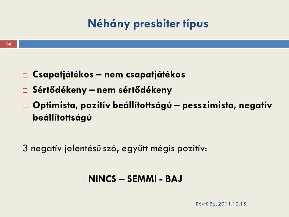 Néhány presbiter típus Révfülöp, 2011.10.15.
