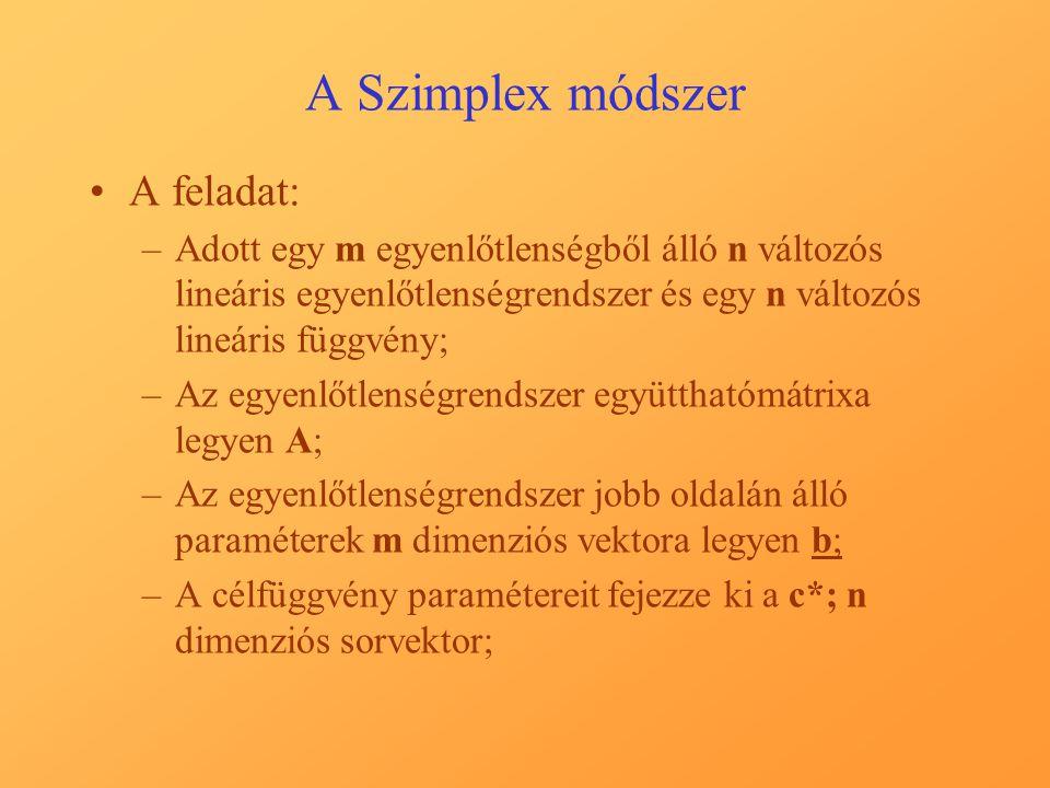 A Szimplex módszer A feladat: –Adott egy m egyenlőtlenségből álló n változós lineáris egyenlőtlenségrendszer és egy n változós lineáris függvény; –Az egyenlőtlenségrendszer együtthatómátrixa legyen A; –Az egyenlőtlenségrendszer jobb oldalán álló paraméterek m dimenziós vektora legyen b; –A célfüggvény paramétereit fejezze ki a c*; n dimenziós sorvektor;