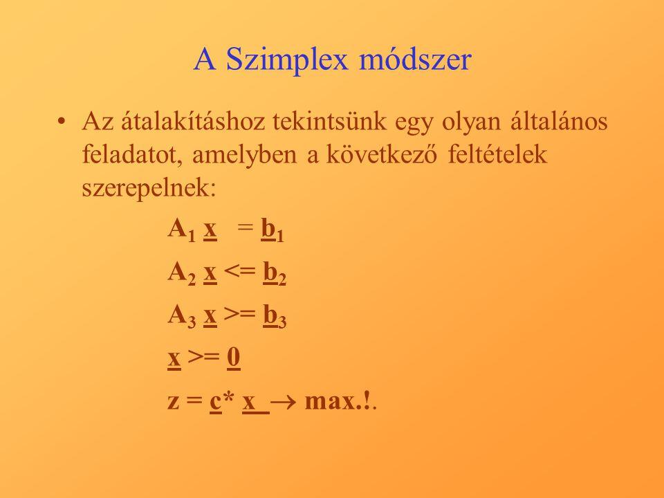 A Szimplex módszer Az átalakításhoz tekintsünk egy olyan általános feladatot, amelyben a következő feltételek szerepelnek: A 1 x = b 1 A 2 x <= b 2 A 3 x >= b 3 x >= 0 z = c* x  max.!.