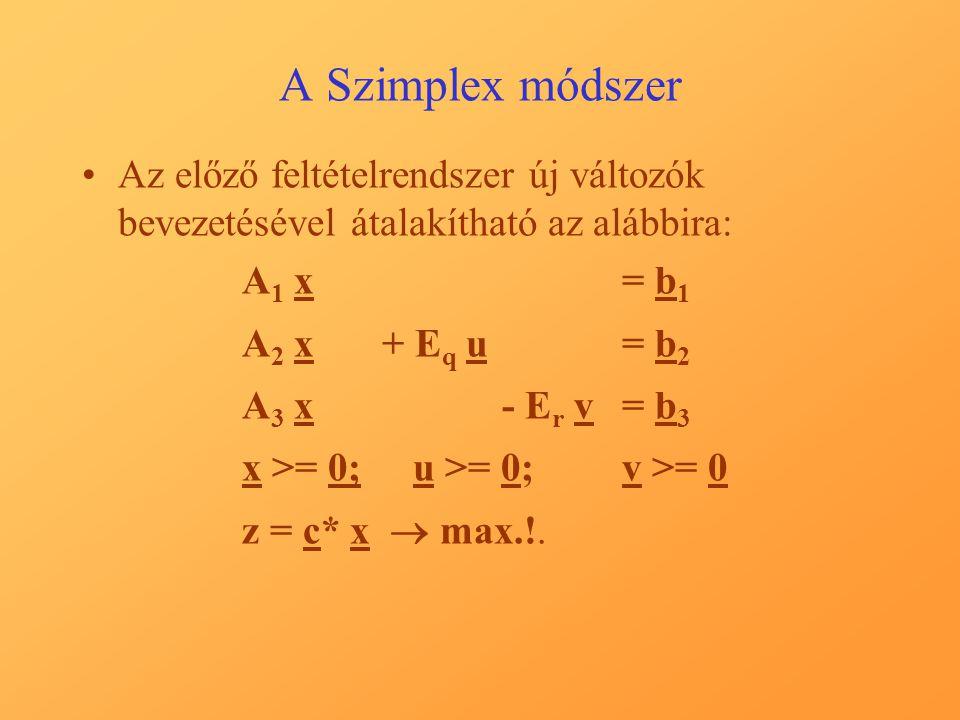 A Szimplex módszer Az előző feltételrendszer új változók bevezetésével átalakítható az alábbira: A 1 x = b 1 A 2 x + E q u= b 2 A 3 x - E r v= b 3 x >= 0;u >= 0;v >= 0 z = c* x  max.!.