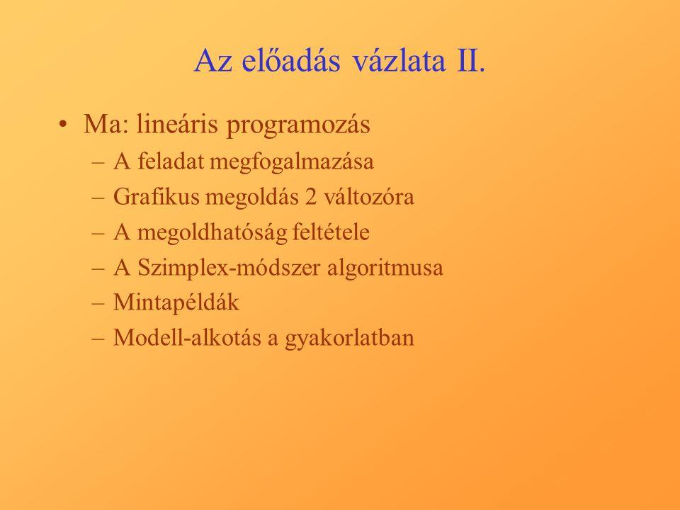 Az előadás vázlata II.
