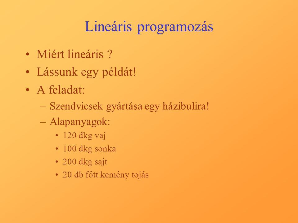 Lineáris programozás Miért lineáris . Lássunk egy példát.
