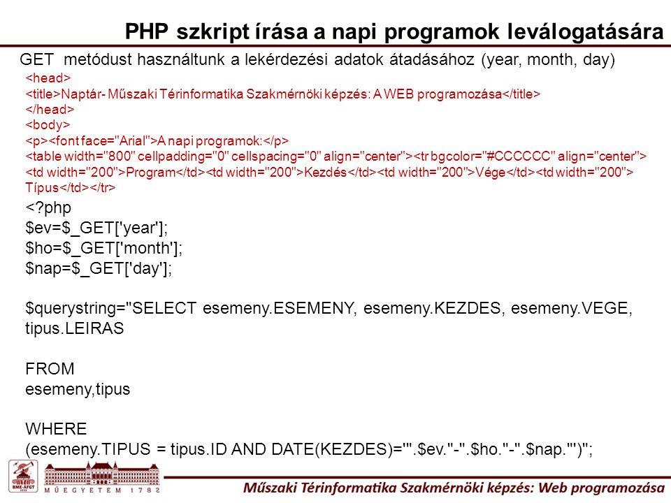 PHP szkript írása a napi programok leválogatására GET metódust használtunk a lekérdezési adatok átadásához (year, month, day) <?php $ev=$_GET['year'];