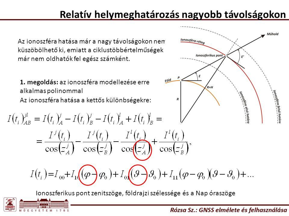 Relatív helymeghatározás nagyobb távolságokon Az ionoszféra hatása már a nagy távolságokon nem küszöbölhető ki, emiatt a ciklustöbbértelműségek már ne