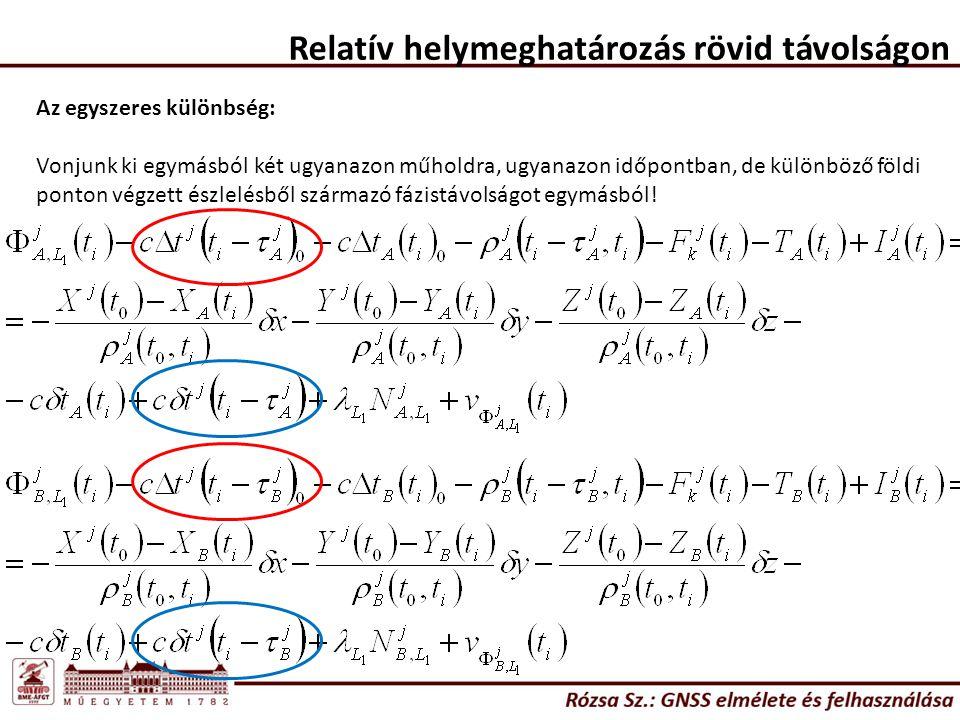 Relatív helymeghatározás rövid távolságon Az egyszeres különbség tehát: Vegyük észre: X B, Y B, Z B ismert koordináták, ezért ezek az egyenlet bal oldalán találhatóak.
