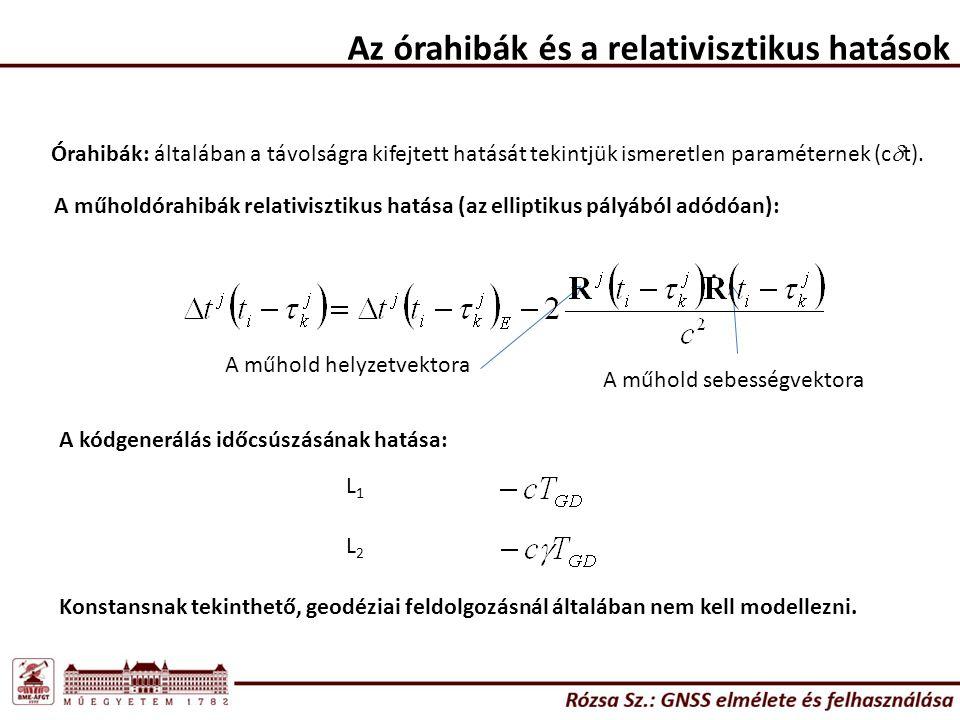 Az órahibák és a relativisztikus hatások Órahibák: általában a távolságra kifejtett hatását tekintjük ismeretlen paraméternek (c  t).