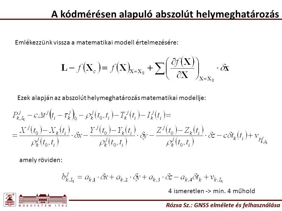 A kódmérésen alapuló abszolút helymeghatározás Emlékezzünk vissza a matematikai modell értelmezésére: Ezek alapján az abszolút helymeghatározás matematikai modellje: amely röviden: 4 ismeretlen -> min.