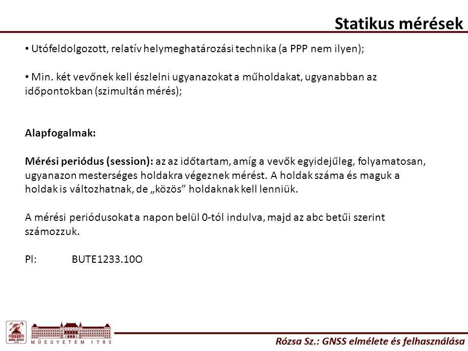 Statikus mérések Utófeldolgozott, relatív helymeghatározási technika (a PPP nem ilyen); Min.