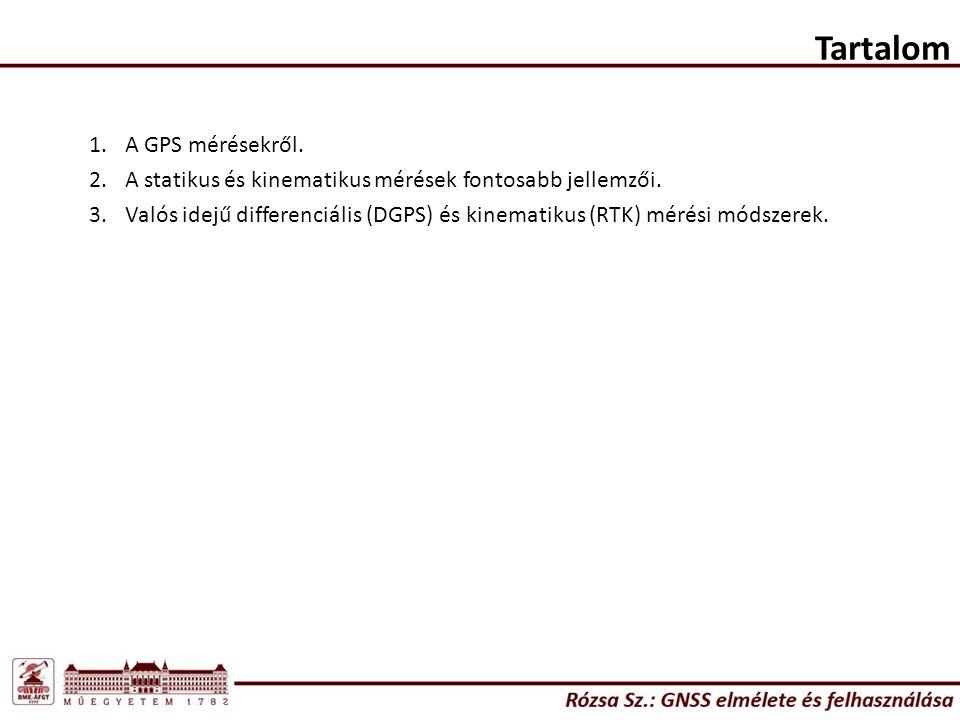 Tartalom 1.A GPS mérésekről.2.A statikus és kinematikus mérések fontosabb jellemzői.