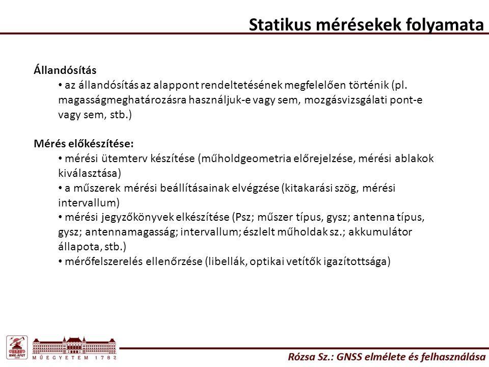Statikus mérésekek folyamata Állandósítás az állandósítás az alappont rendeltetésének megfelelően történik (pl.